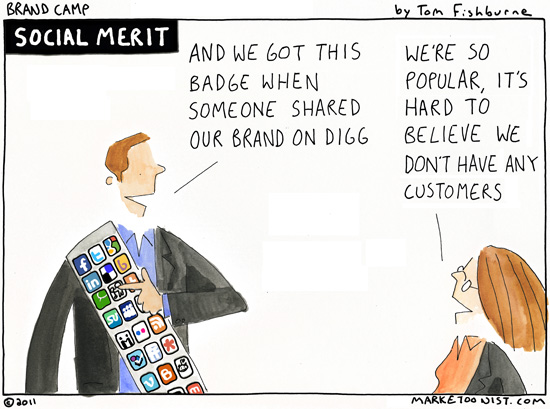 Cartoon about socia media popularity not leading to business