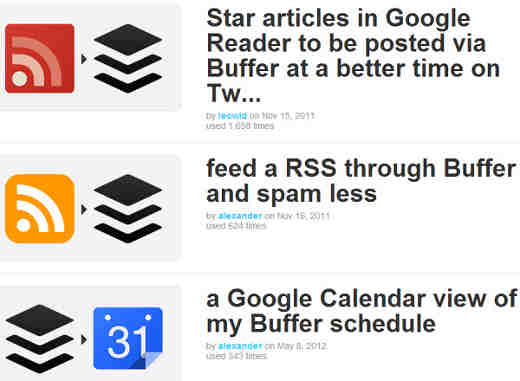 Details about how each IFTTT recipe feeds what