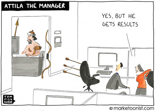 Cartoon with Atilla shooting arrows at employees