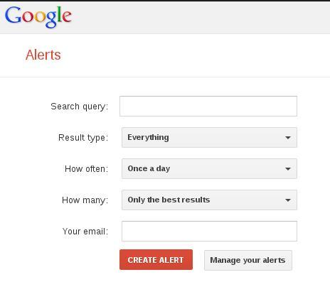 Google Alerts setup form.