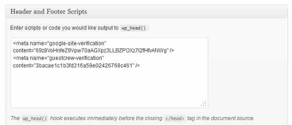 Where you add header code
