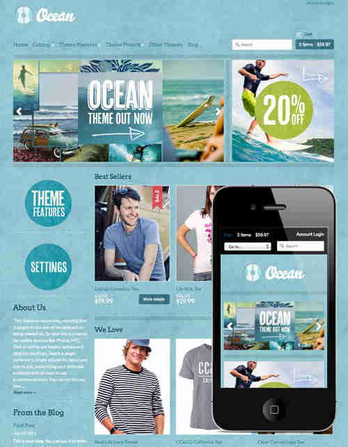 OCEAN eCommerce Mobile Responsive Website Template