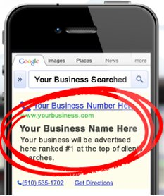 Your Business Name Here ad on mobile phone