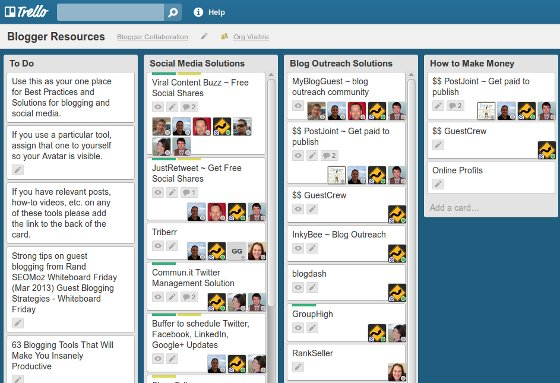 Trello Blogger Resources board