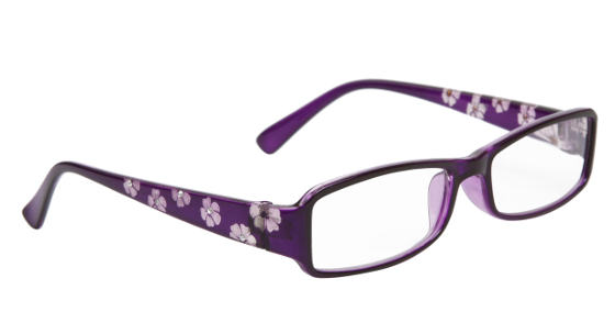 Purple reading glasses with flowers on them