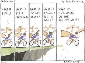 What if I fail...making the leap cartoon
