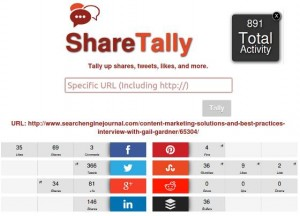 Screen capture of part of the stats ShareTally collects