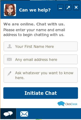 Example of ClickDesk live chat box