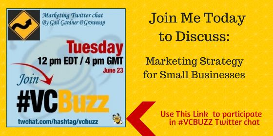 #VCBuzz Twitter Chat June 24, 2014 with Gail Gardner discutting Marketing Strategy for Small Business
