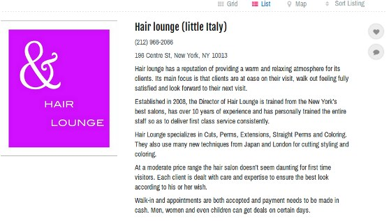 Hair Lounge - example of a local listing in the new DirJournal Local Directory
