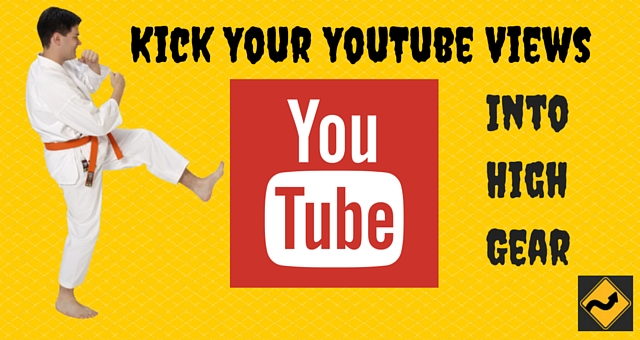 Karate Guy Kicking red box with YouTube Label: Kick Your YouTube Views Into High Gear