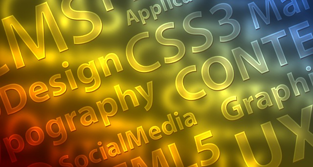 Colorful image with words on it related to web design like CSS and HTML5