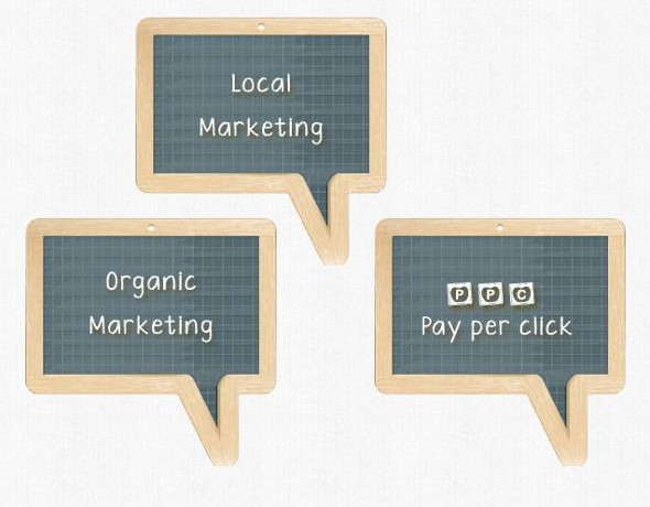 3 rectangular chalk board word bubbles: local marketing, organic marketing, pay per click (ppc)