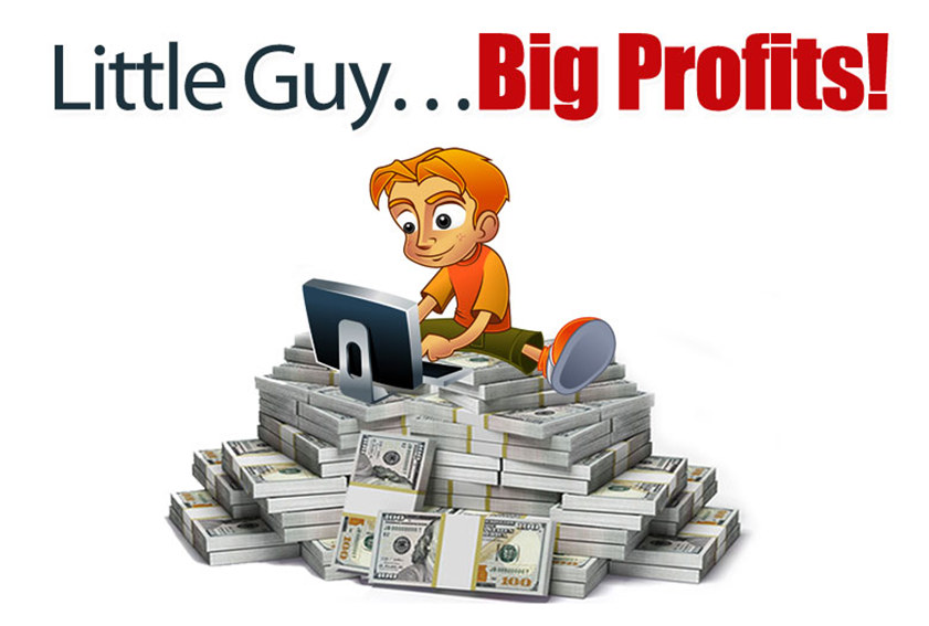 Little Guy sitting on a pile of money from his Big Profits