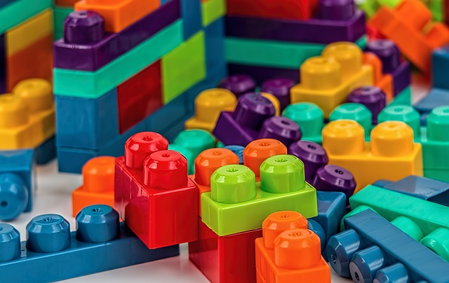 Colorful Lego-like building blocks