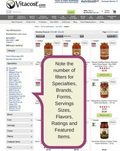 Screen capture showing the many ways to filter products on Vitacost.com