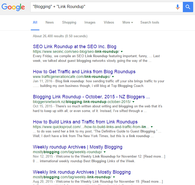 Google Search Results For Blogging + Link Roundup