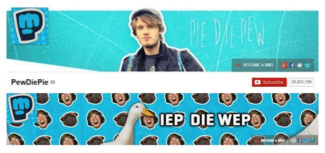 PewDiePie HEADER IMAGES - Video marketing