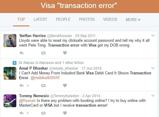 Visa transaction error