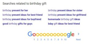 Google search birthday gift
