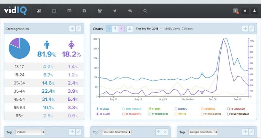 VidIQ track analytics