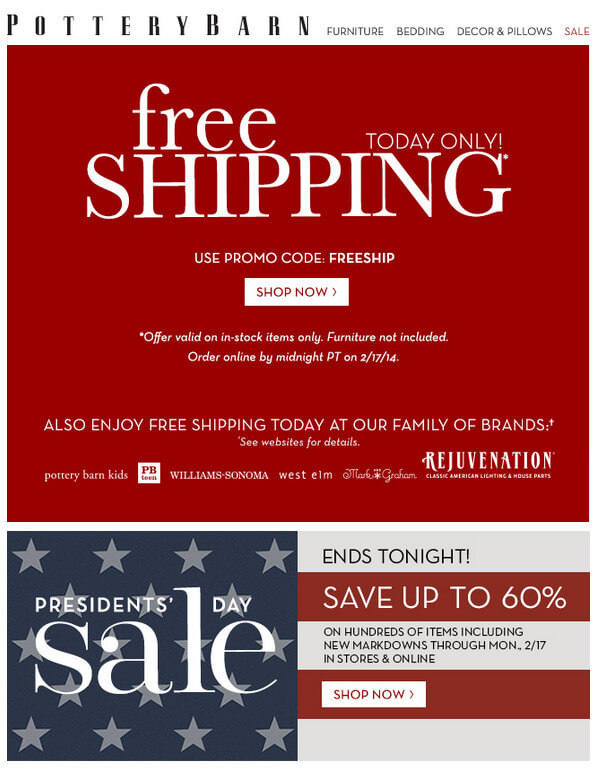 Pottery Barn Presidents Day Sale Free Shipping 60 percent off