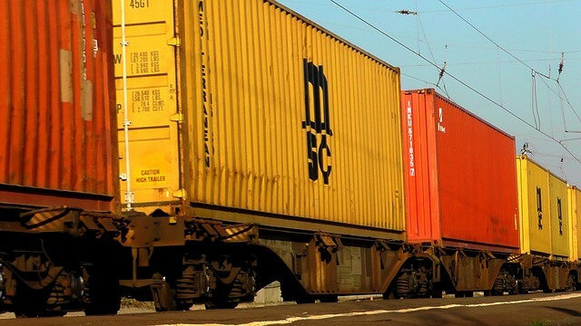 Shipping Containers Forwarded onto Freight Trains