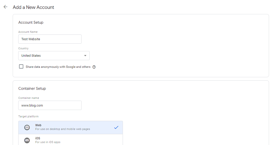 Create Google Tag Manager Container