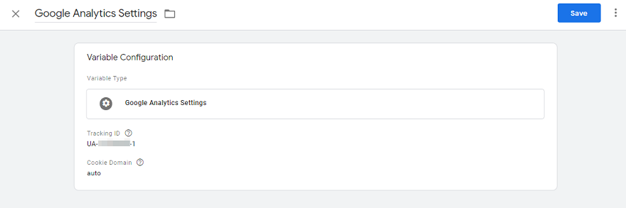 Google Analytics settings variable