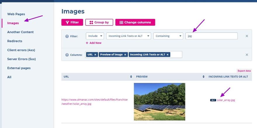 Check alt image tags using Spotibo