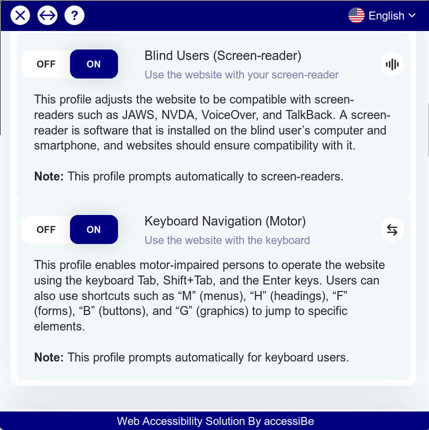accessiBe Blind Users and Keyboard Navigation for Motor-Impaired