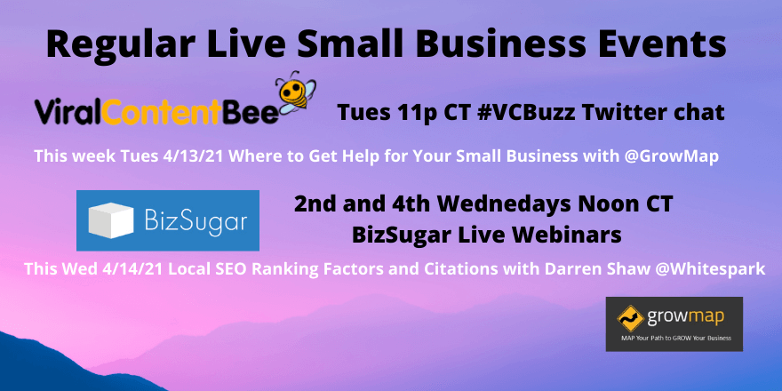 Regular Live Small Business Events Tues and Wed
