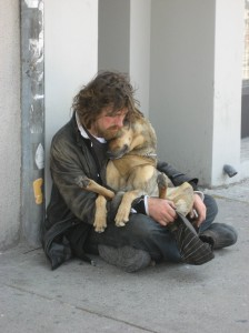 Homeless Cuddling Dog By Kirsten Bole