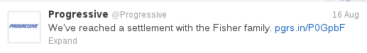 Progressive Tweet Fisher Settlement