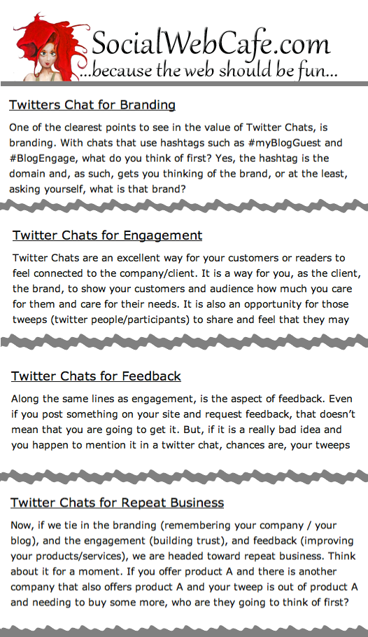 Twitter Chat FAQs from SocialWebCafe and B2CTweet