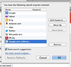 Search engine choices in FireFox showing Google Unpersonalized option