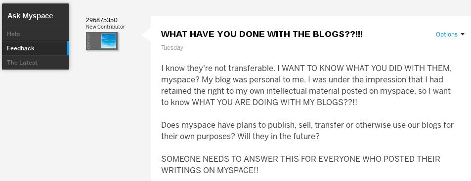MySpace: What Have You Done with the Blogs?