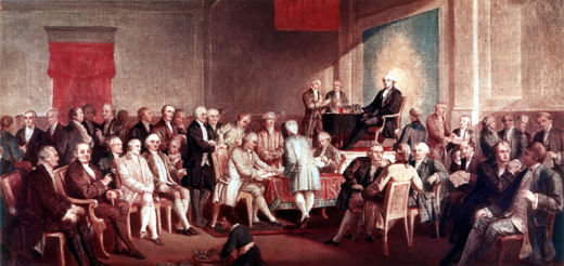 Photo of the signers or the constitution signing