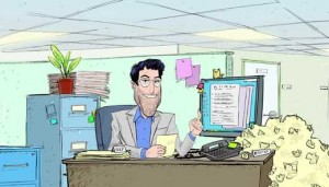 Cartoon Brad from Workopolis at a cluttered desk