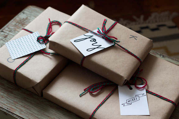 Printable Gift Tags shown on wrapped packages