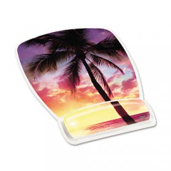 Mouse pad with wrist rest with palm tree and sunset