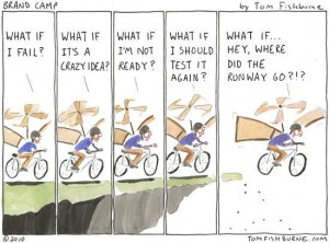 What if I fail...making the leap cartoon