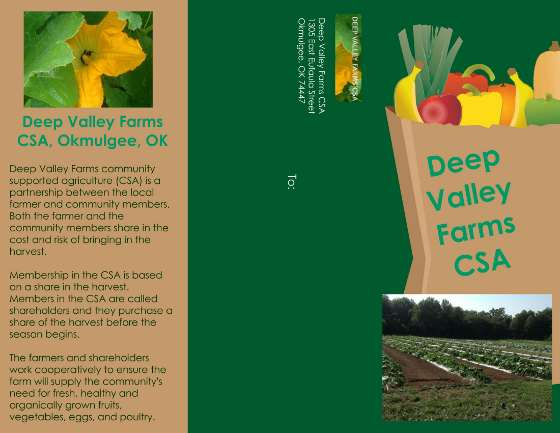 Deep Valley Farms Okmulgee, OK CSA mailer