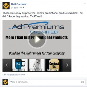 Ad Premiums Unlimited Promotional Products Video visible on Facebook