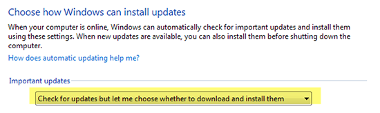 Check for updates but let me choose whether to download and install them