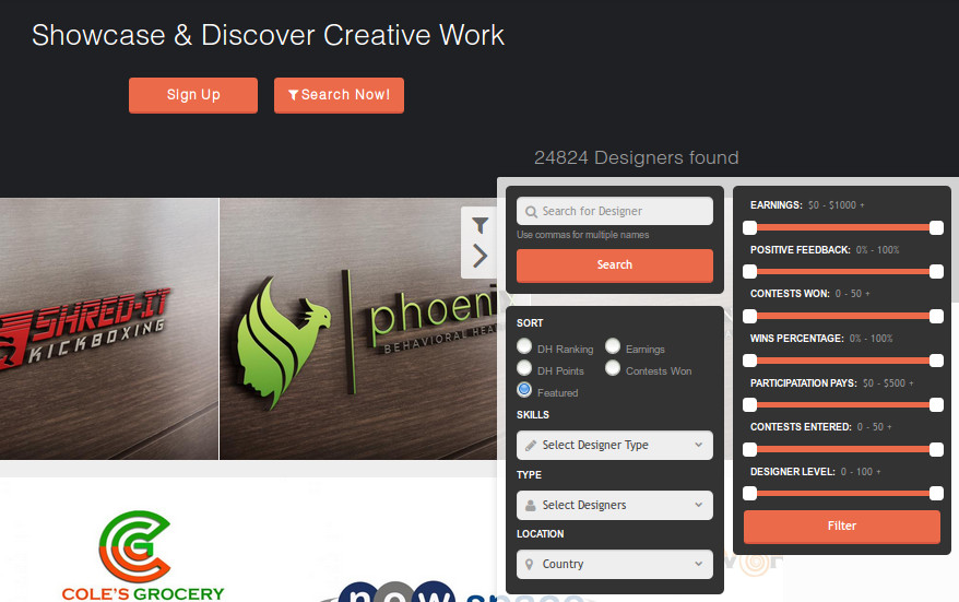 Screen capture of how to find custom graphic designs and designers at Designhill