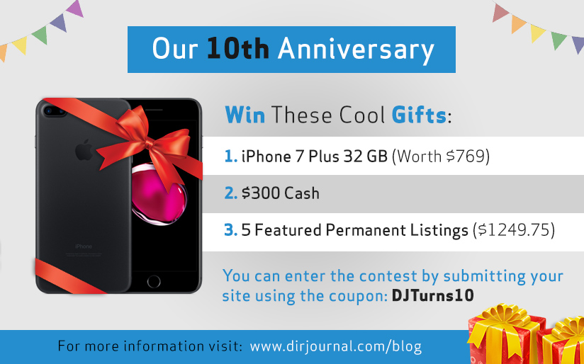 DirJournal 10th Anniversary: Win Cash, Free Listings, iPhone 7 Plus #giveaway Ends Midnight 6/12/17